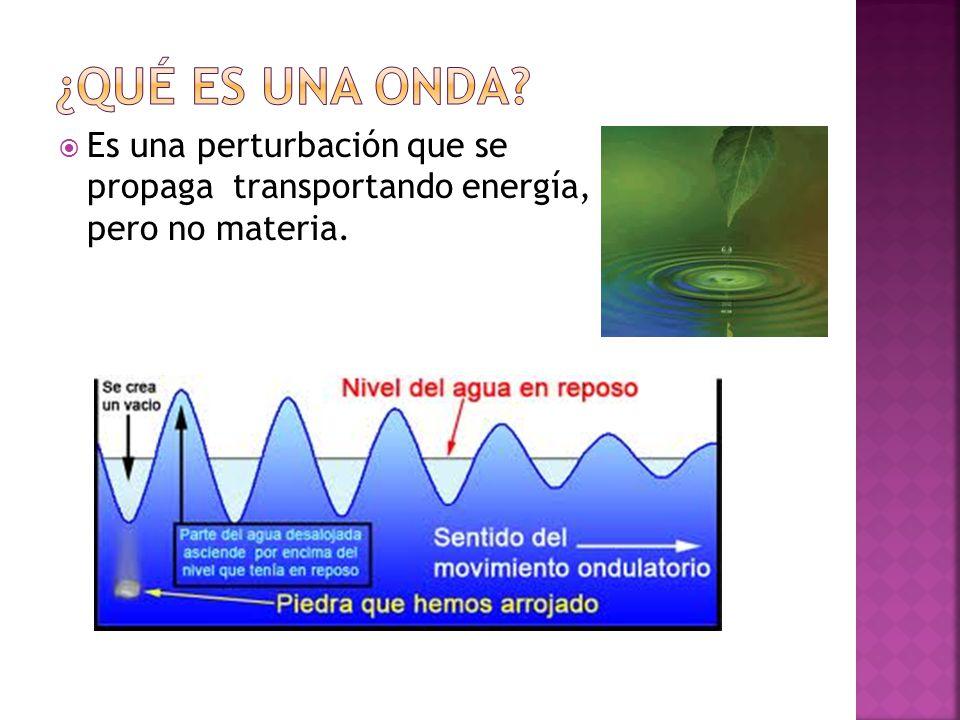 ¿QUÉ ES UNA ONDA Es una perturbación que se propaga transportando energía, pero no materia.