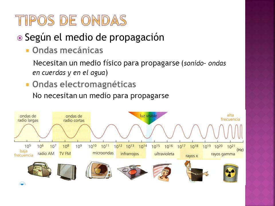 TIPOS DE ONDAS Según el medio de propagación Ondas mecánicas
