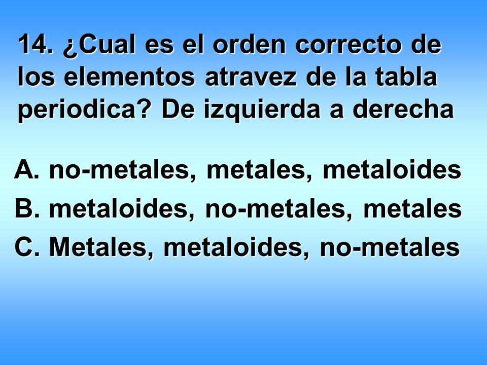 metaloides no metales 14 cual es el orden correcto de los elementos atravez de la tabla periodica - Tabla Periodica Metales No Metales Metaloides