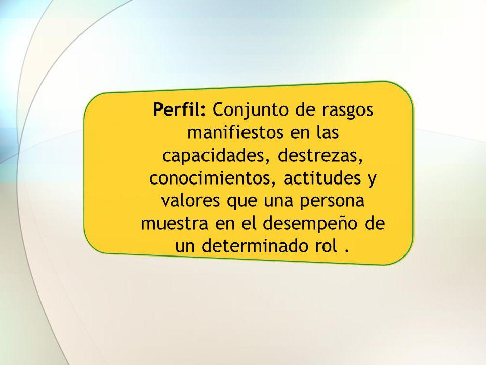 Perfil: Conjunto de rasgos manifiestos en las capacidades, destrezas, conocimientos, actitudes y valores que una persona muestra en el desempeño de un determinado rol .