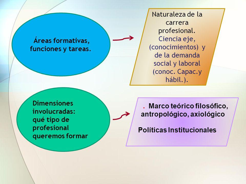 Áreas formativas, funciones y tareas.