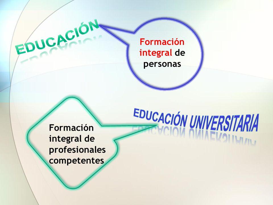 Formación integral de personas EDUCACIÓN UNIVERSITARIA