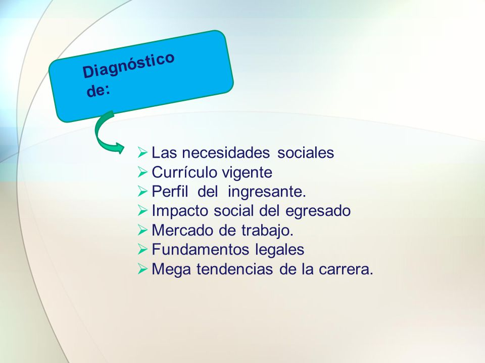 Diagnóstico de: Las necesidades sociales. Currículo vigente. Perfil del ingresante. Impacto social del egresado.