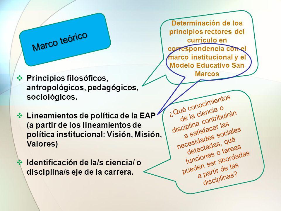 Determinación de los principios rectores del currículo en correspondencia con el marco institucional y el Modelo Educativo San Marcos