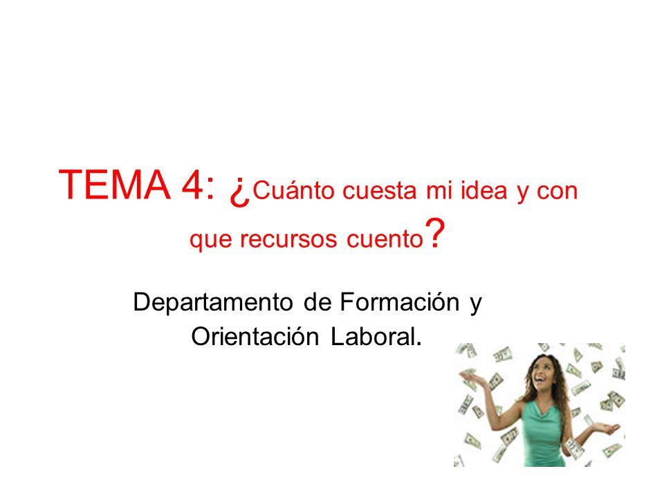 TEMA 4: ¿Cuánto cuesta mi idea y con que recursos cuento