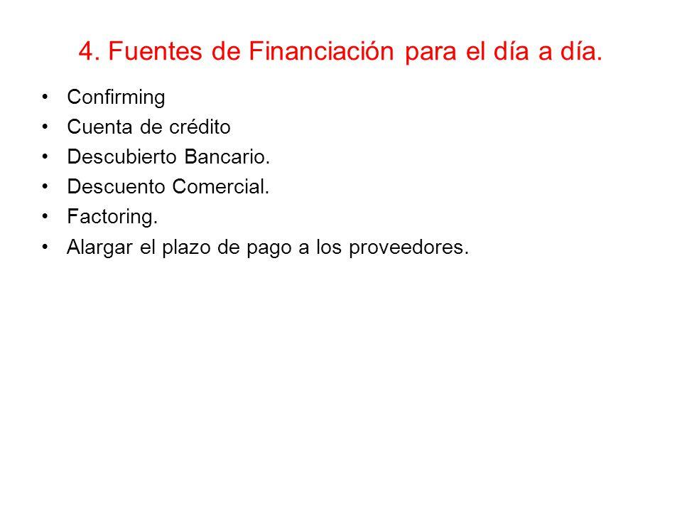 4. Fuentes de Financiación para el día a día.