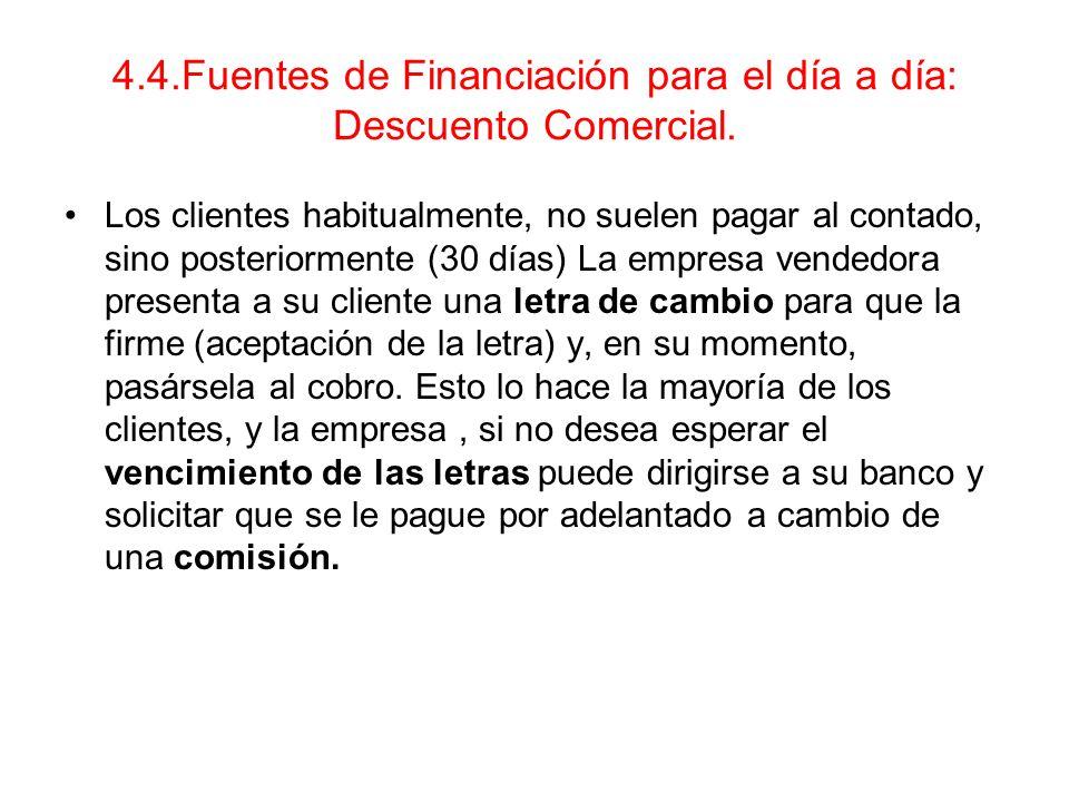 4.4.Fuentes de Financiación para el día a día: Descuento Comercial.