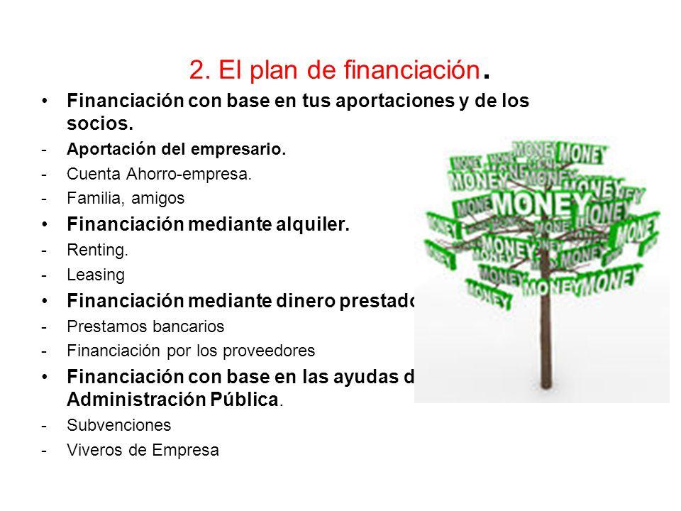 2. El plan de financiación.