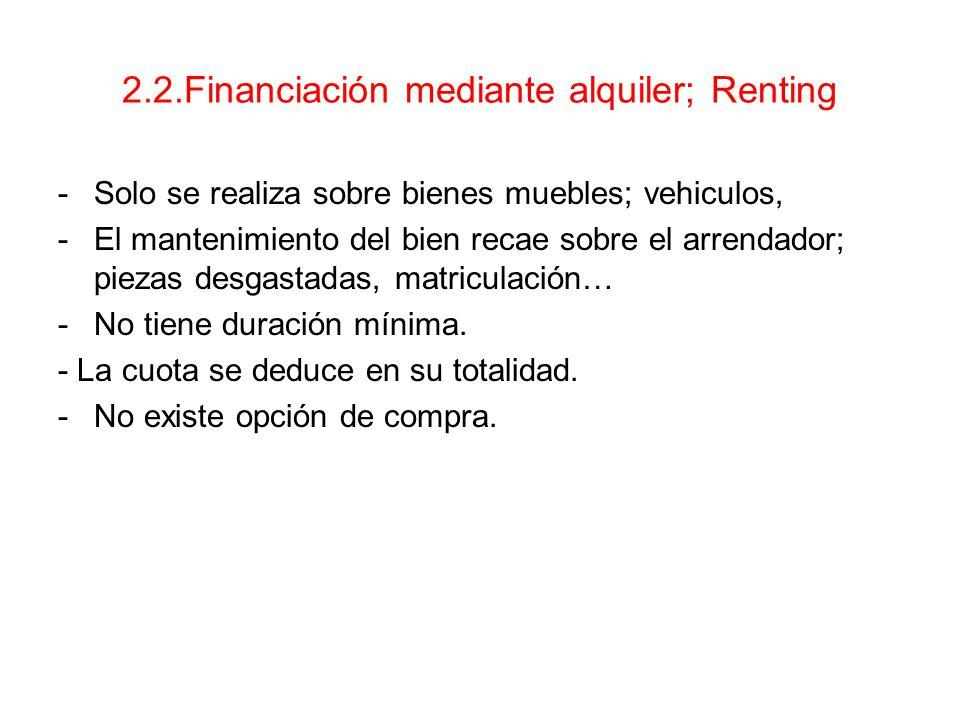 2.2.Financiación mediante alquiler; Renting