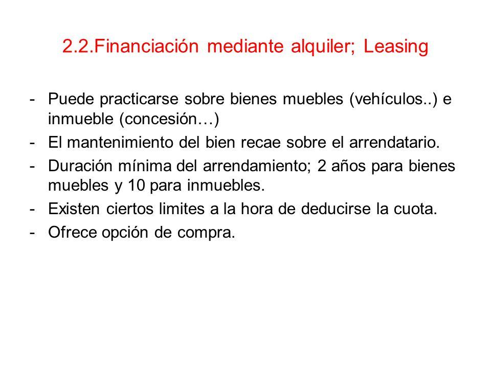 2.2.Financiación mediante alquiler; Leasing