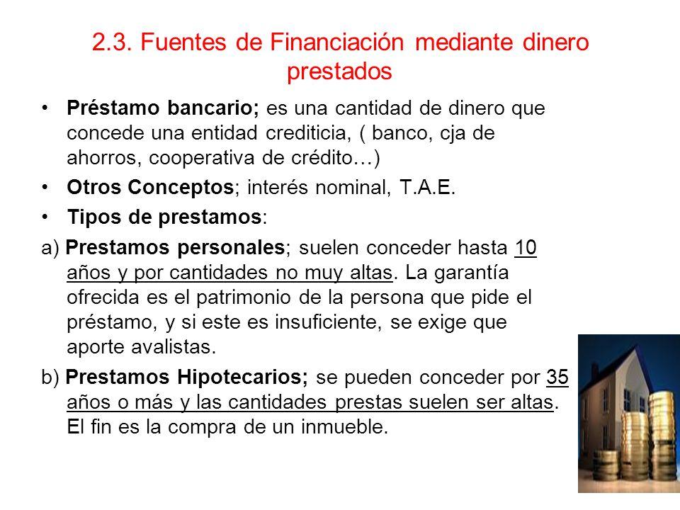 2.3. Fuentes de Financiación mediante dinero prestados