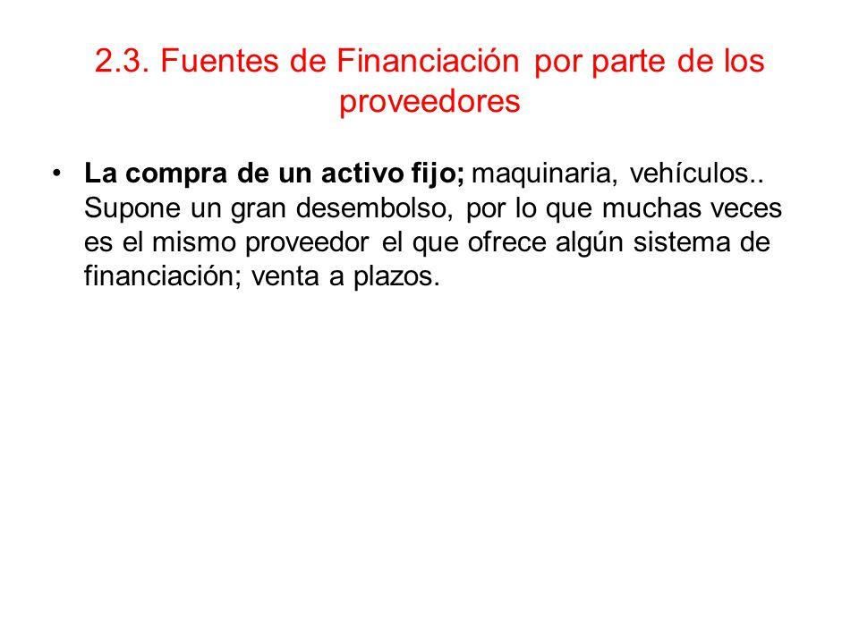 2.3. Fuentes de Financiación por parte de los proveedores