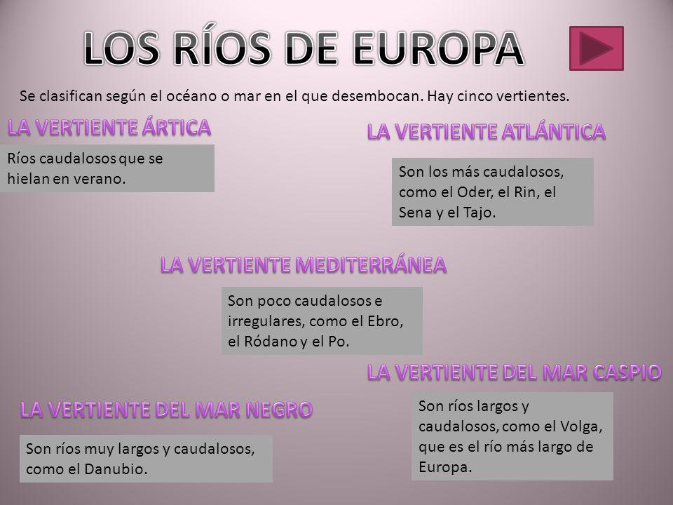 LOS RÍOS DE EUROPA LA VERTIENTE ÁRTICA LA VERTIENTE ATLÁNTICA