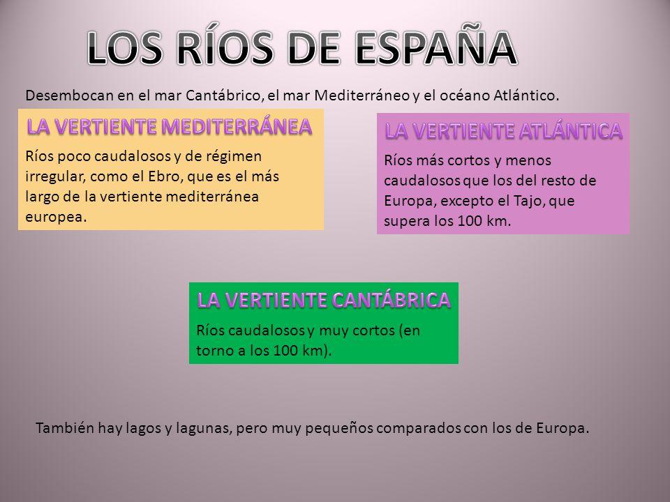 LOS RÍOS DE ESPAÑA LA VERTIENTE MEDITERRÁNEA LA VERTIENTE ATLÁNTICA
