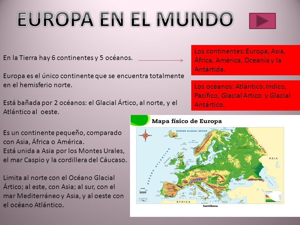 EUROPA EN EL MUNDO Los continentes: Europa, Asia, África, América, Oceanía y la Antártida. En la Tierra hay 6 continentes y 5 océanos.