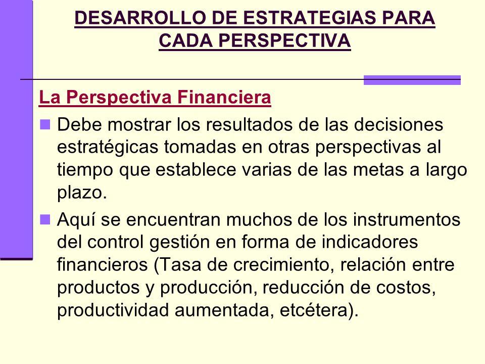 DESARROLLO DE ESTRATEGIAS PARA CADA PERSPECTIVA