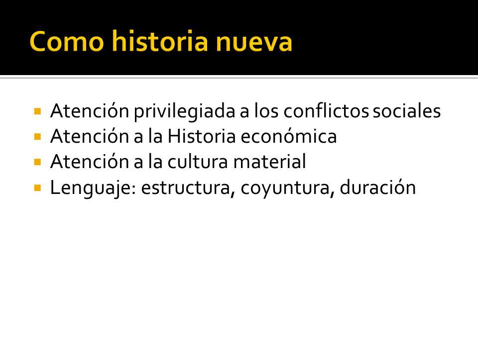 Como historia nueva Atención privilegiada a los conflictos sociales