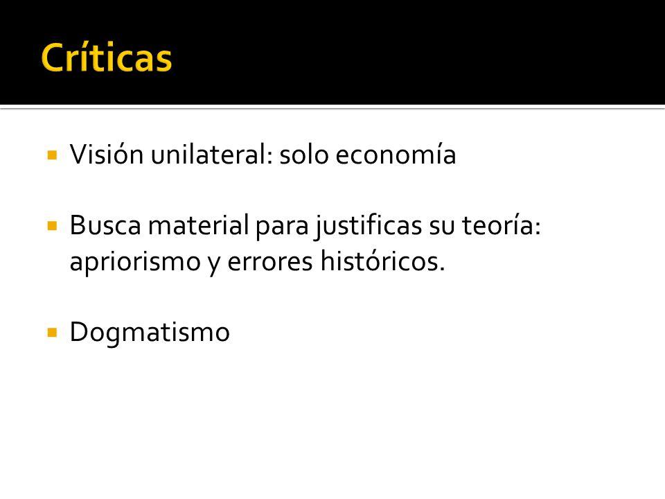 Críticas Visión unilateral: solo economía