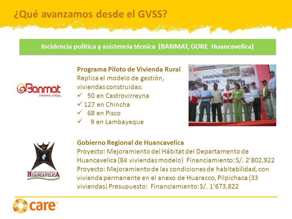 Incidencia política y asistencia técnica (BANMAT, GORE Huancavelica)