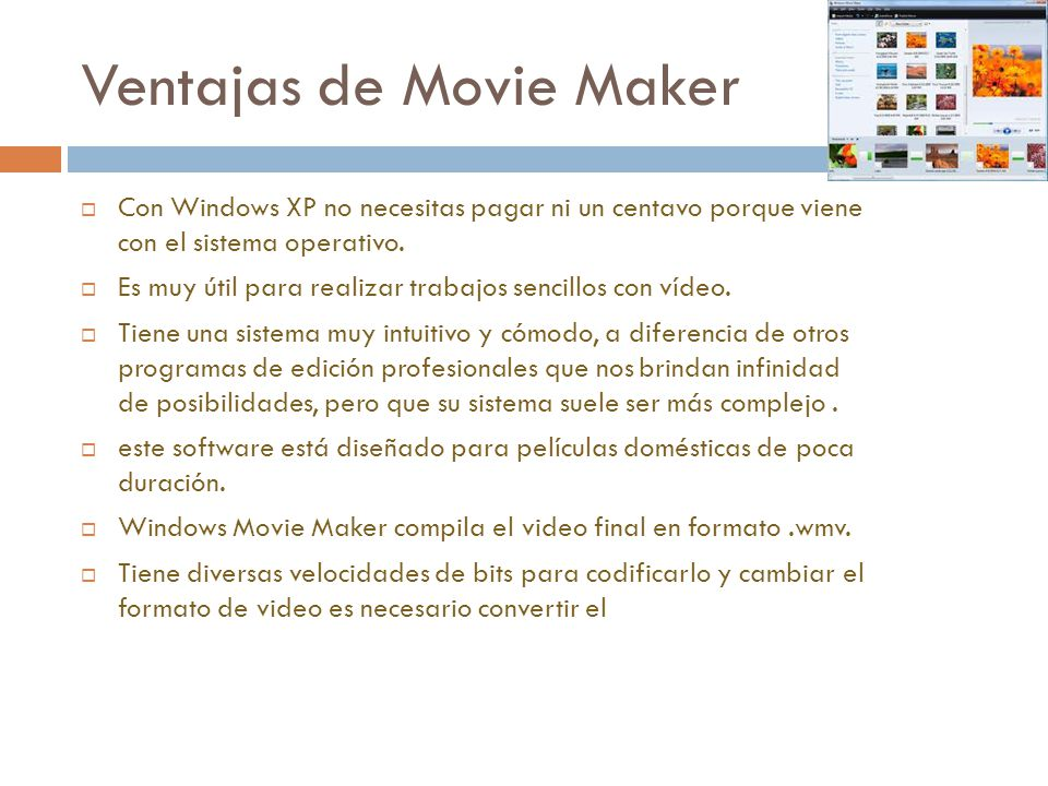 Ventajas de Movie Maker