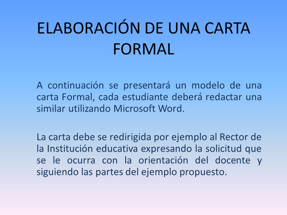 Elaboracion De Una Carta Formal Ppt Video Online Descargar
