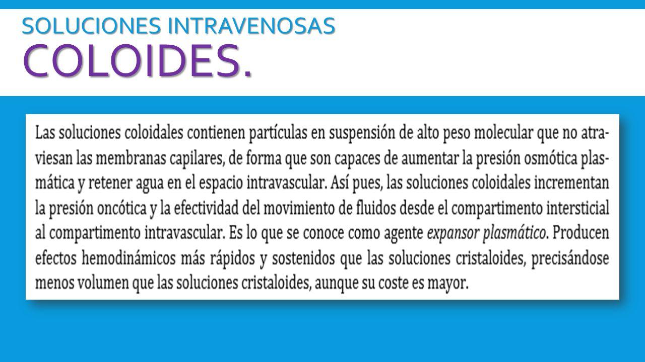 SOLUCIONES INTRAVENOSAS Coloides.