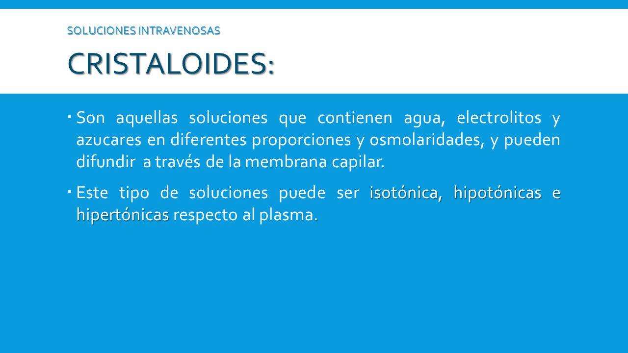 SOLUCIONES INTRAVENOSAS cristaloides: