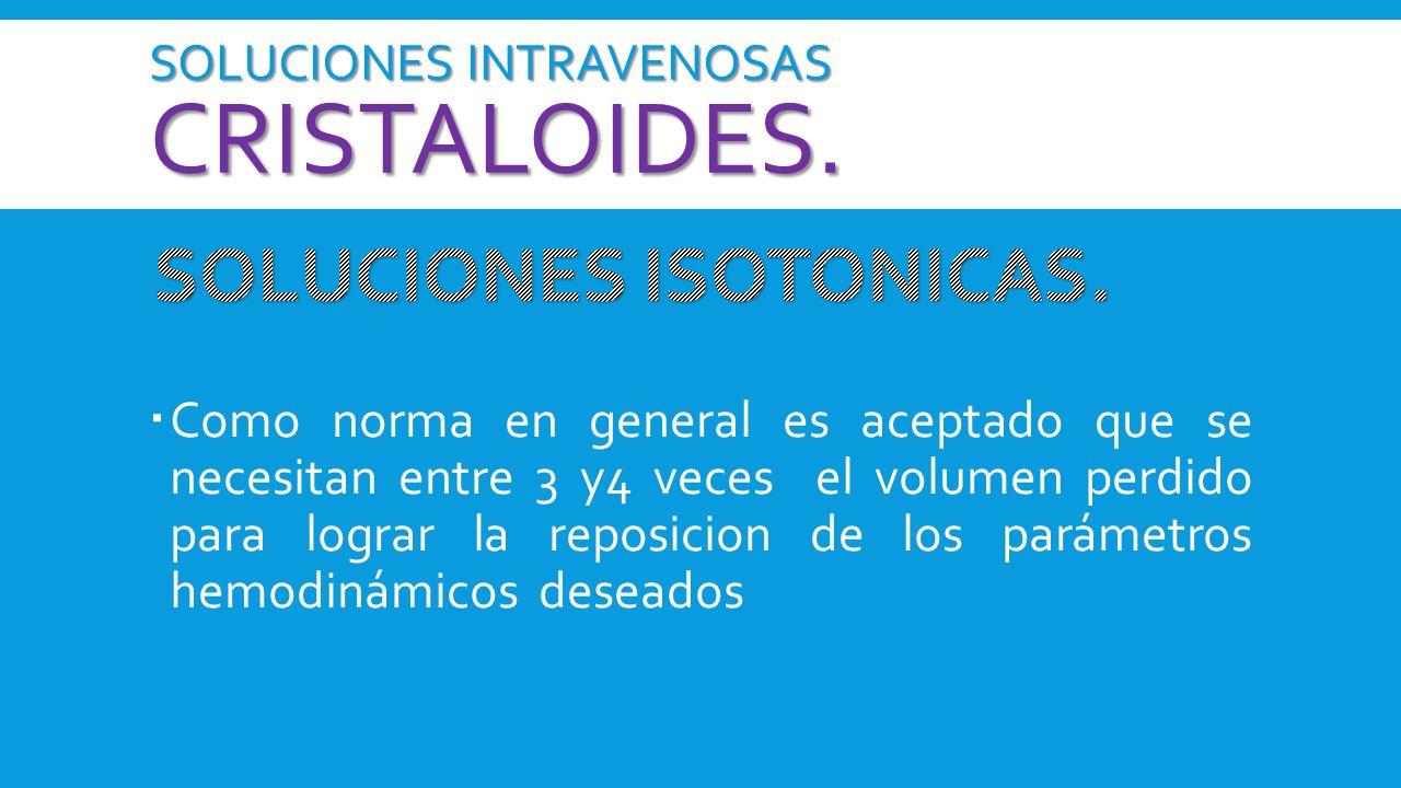 SOLUCIONES INTRAVENOSAS cristaloides.