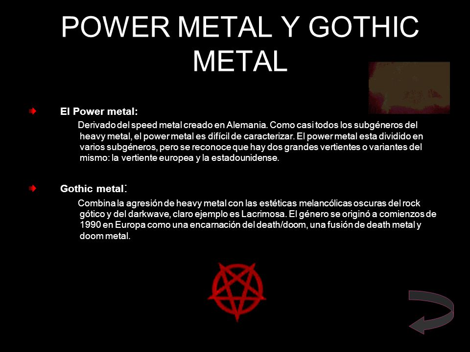 POWER METAL Y GOTHIC METAL