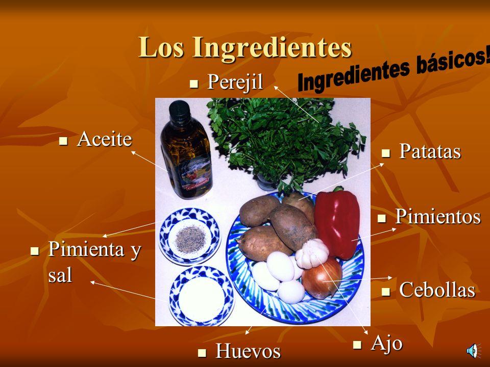 Los Ingredientes Perejil Aceite Patatas Pimientos Pimienta y sal