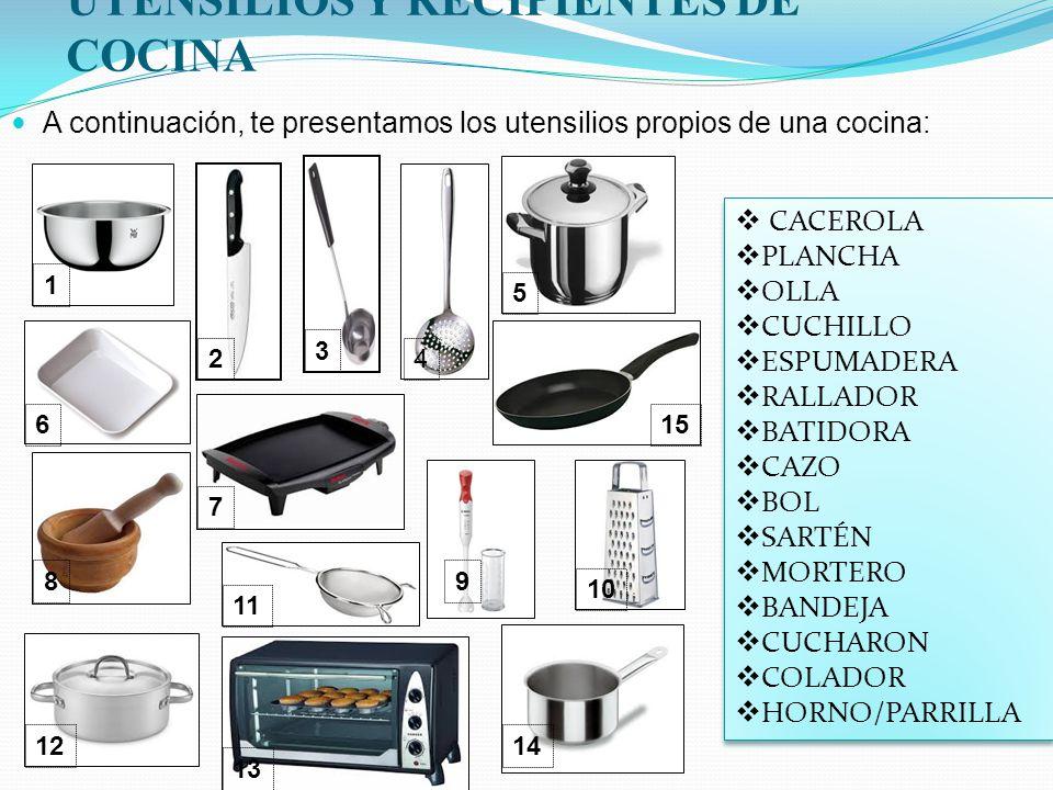 En la cocina ser capaces de explicar como se elabora una for Recipientes cocina