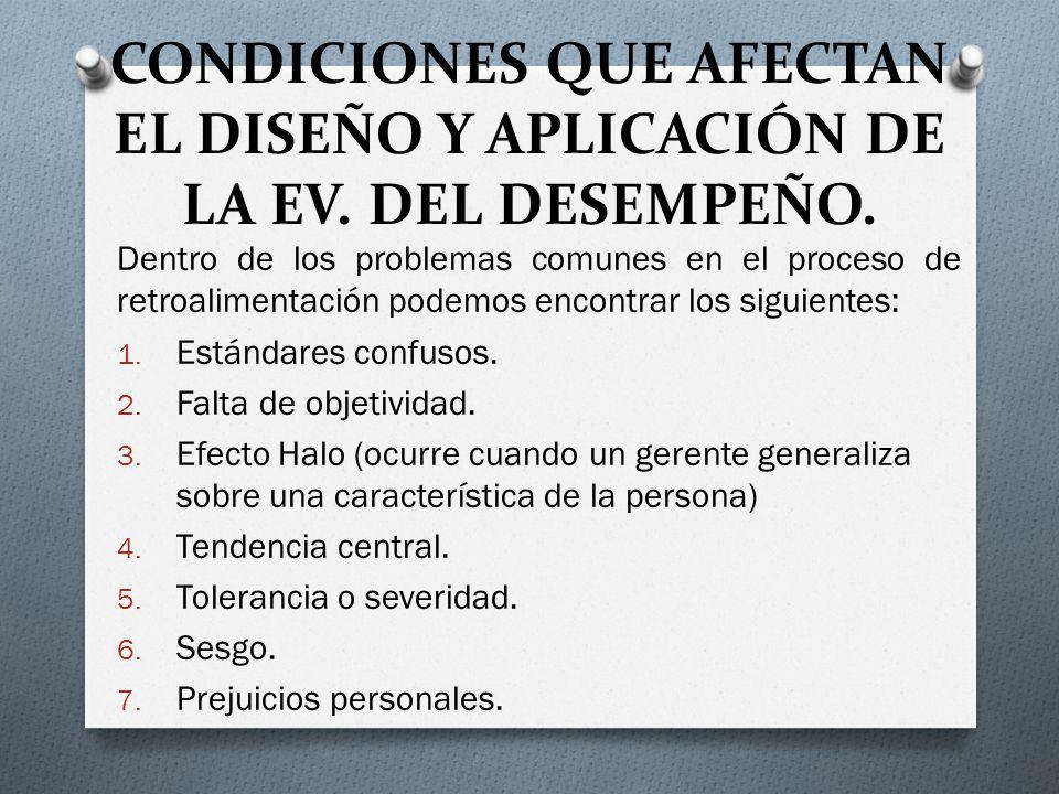 CONDICIONES QUE AFECTAN EL DISEÑO Y APLICACIÓN DE LA EV. DEL DESEMPEÑO.