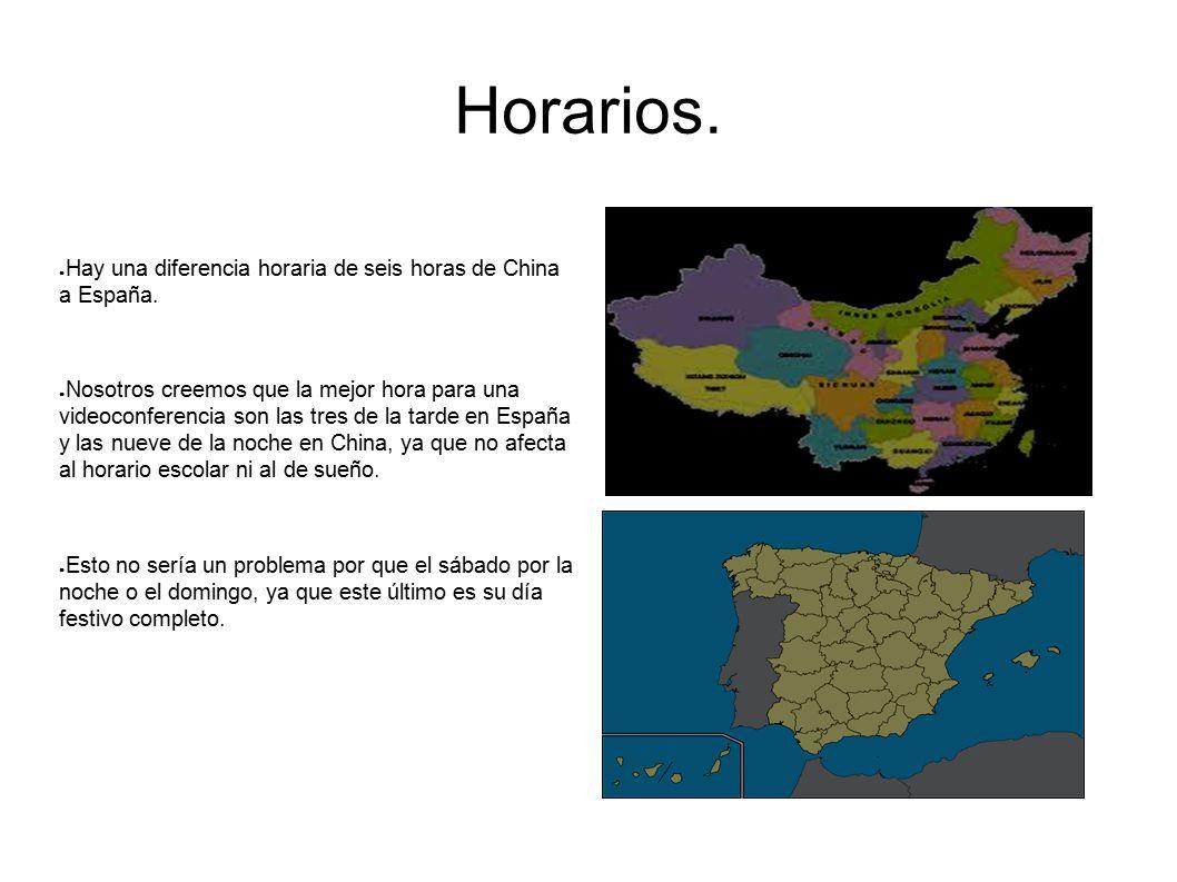 Horarios. Hay una diferencia horaria de seis horas de China a España.