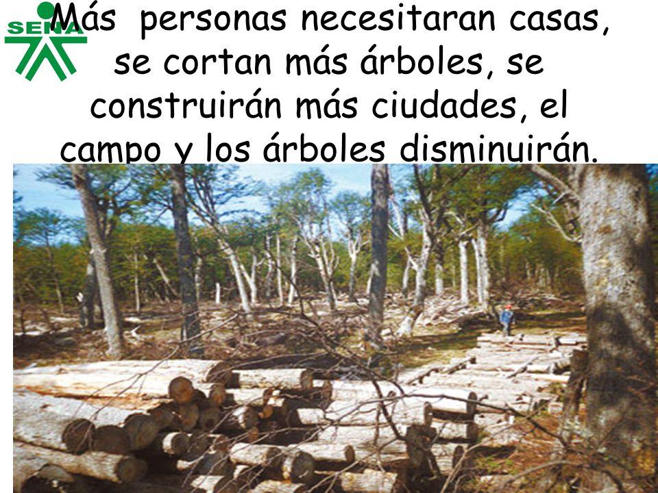 Más personas necesitaran casas, se cortan más árboles, se construirán más ciudades, el campo y los árboles disminuirán.
