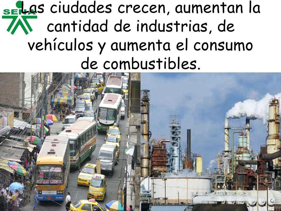 Las ciudades crecen, aumentan la cantidad de industrias, de vehículos y aumenta el consumo de combustibles.