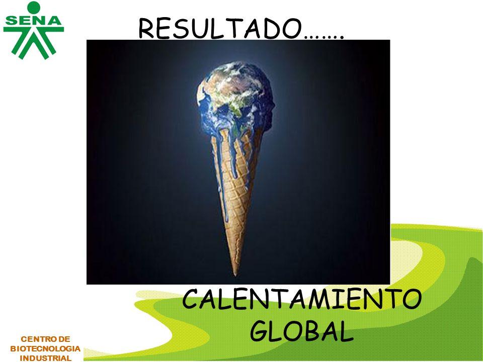 RESULTADO……. CALENTAMIENTO GLOBAL CENTRO DE BIOTECNOLOGIA INDUSTRIAL