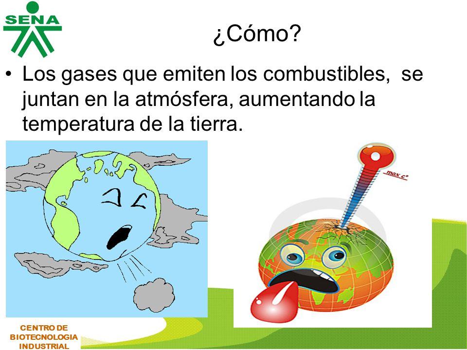 ¿Cómo Los gases que emiten los combustibles, se juntan en la atmósfera, aumentando la temperatura de la tierra.
