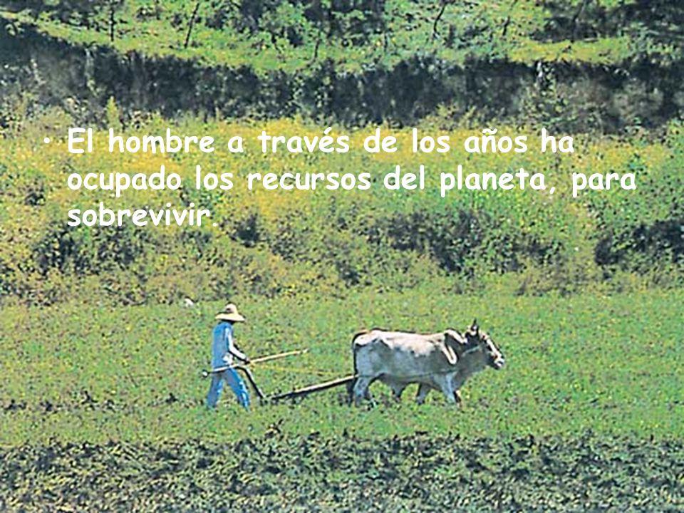 El hombre a través de los años ha ocupado los recursos del planeta, para sobrevivir.