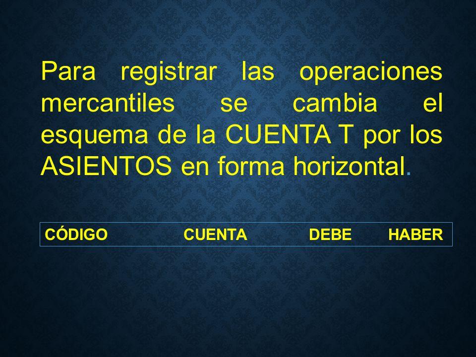 Para registrar las operaciones mercantiles se cambia el esquema de la CUENTA T por los ASIENTOS en forma horizontal.