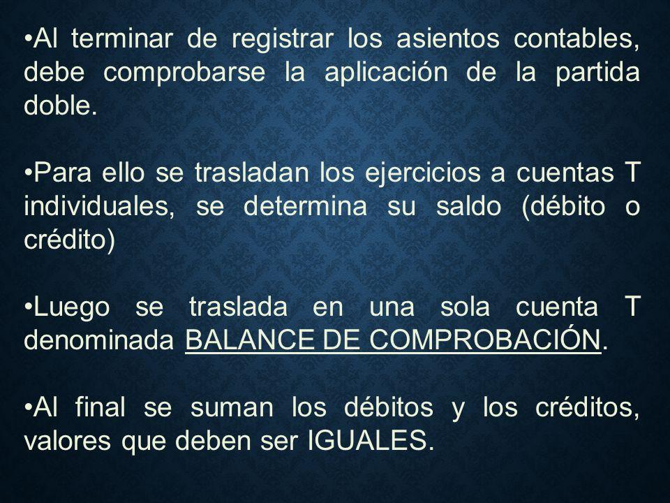 Al terminar de registrar los asientos contables, debe comprobarse la aplicación de la partida doble.
