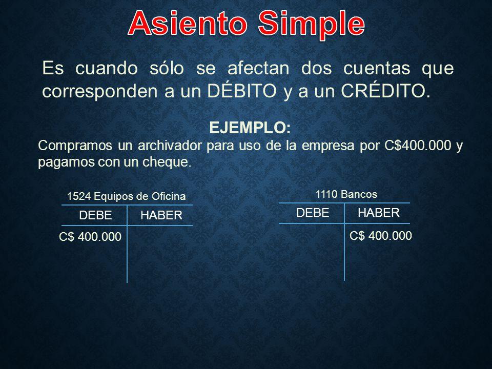 Asiento Simple Es cuando sólo se afectan dos cuentas que corresponden a un DÉBITO y a un CRÉDITO. EJEMPLO: