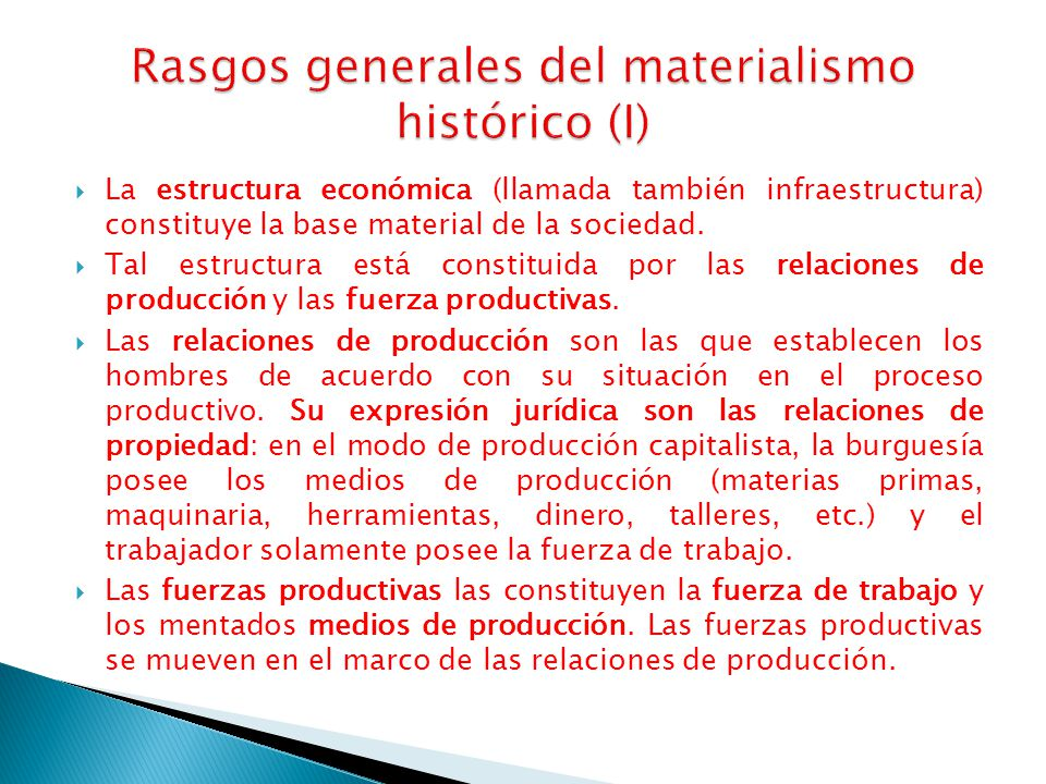 Rasgos generales del materialismo histórico (I)