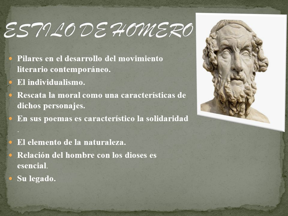 Poema contemporaneo caracteristicas homero siglo viii a c for Caracteristicas del contemporaneo