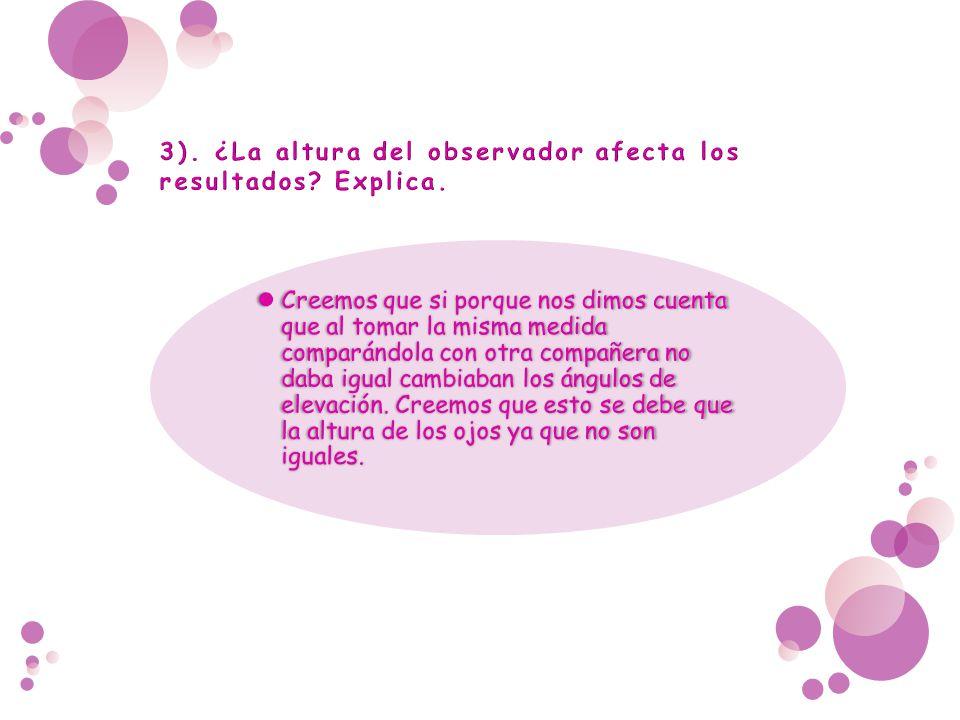 3). ¿La altura del observador afecta los resultados Explica.