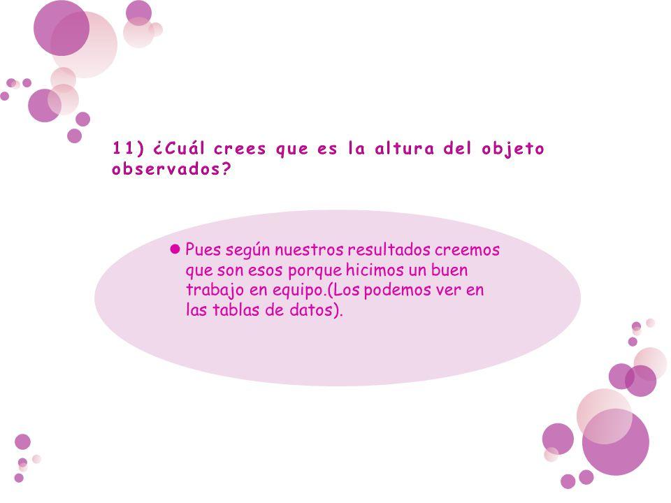 11) ¿Cuál crees que es la altura del objeto observados