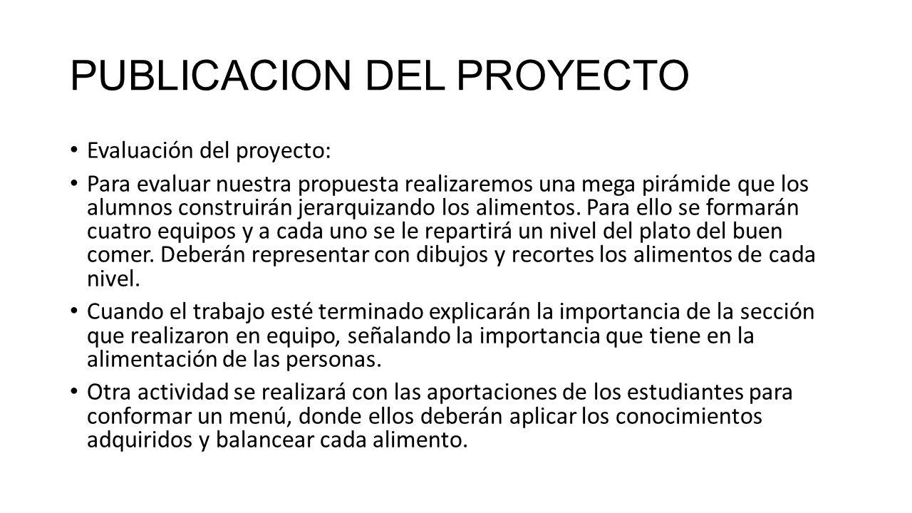 PUBLICACION DEL PROYECTO