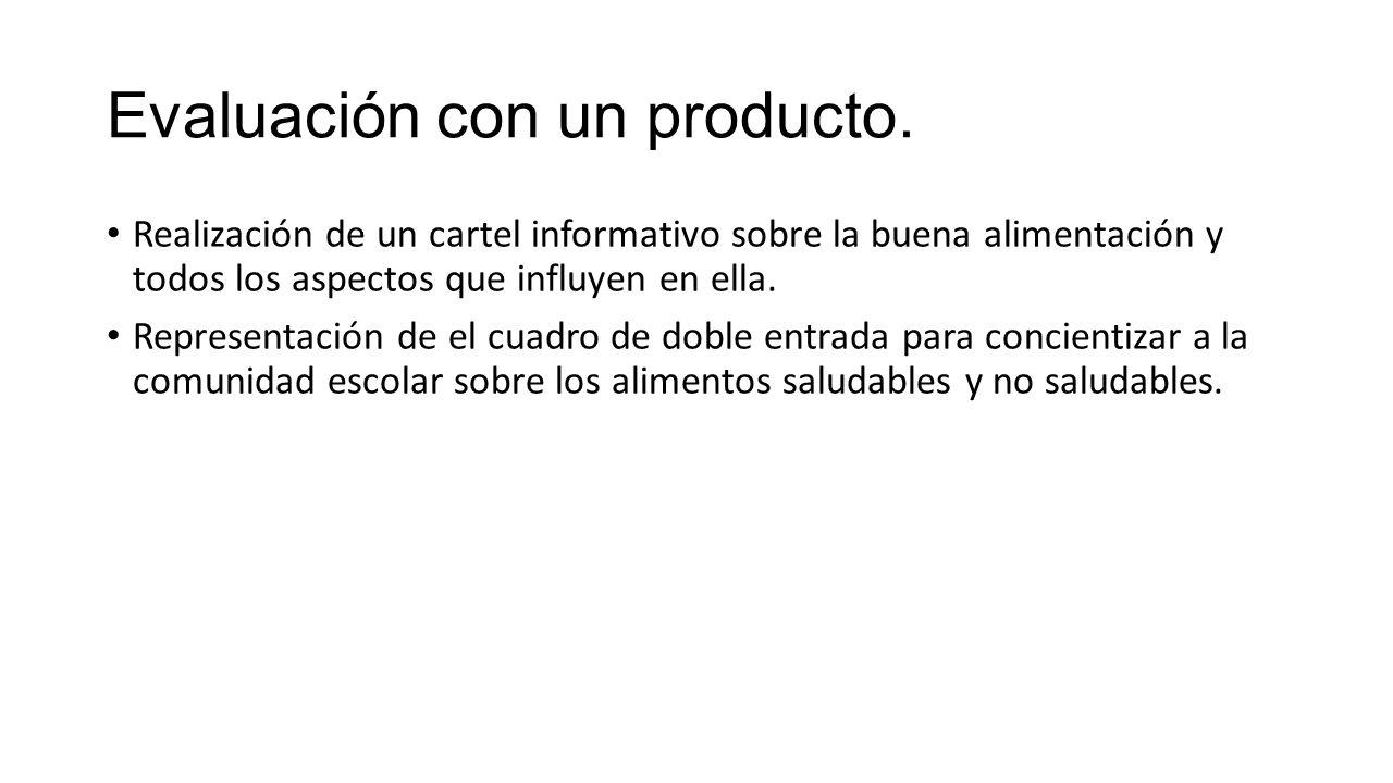 Evaluación con un producto.
