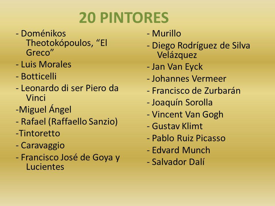 20 pintores - Nombres De Pintores Famosos
