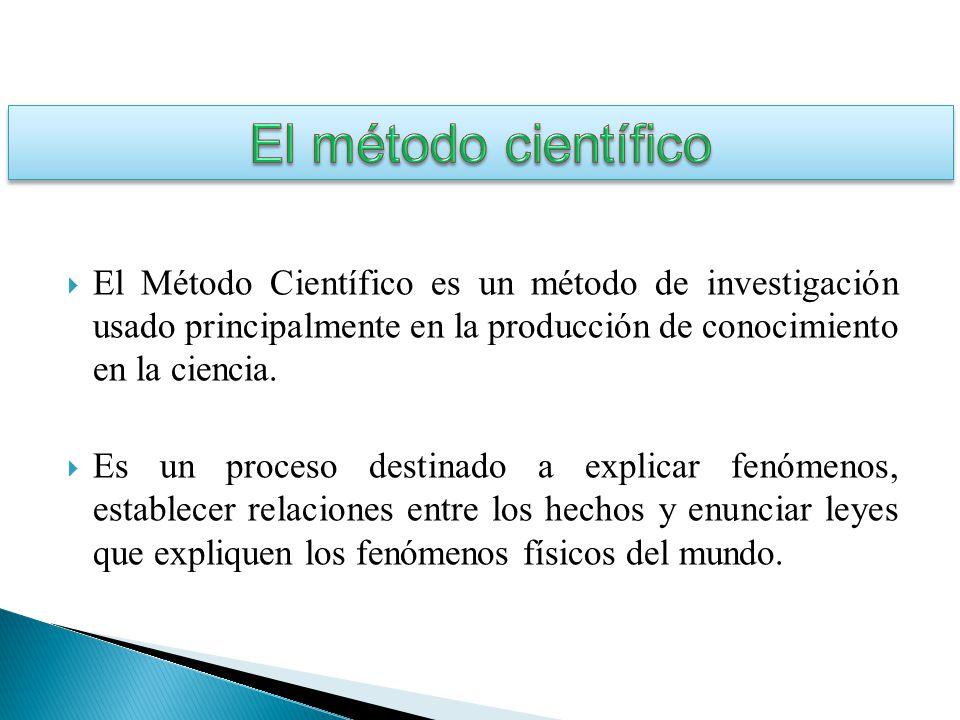 El método científico El Método Científico es un método de investigación usado principalmente en la producción de conocimiento en la ciencia.