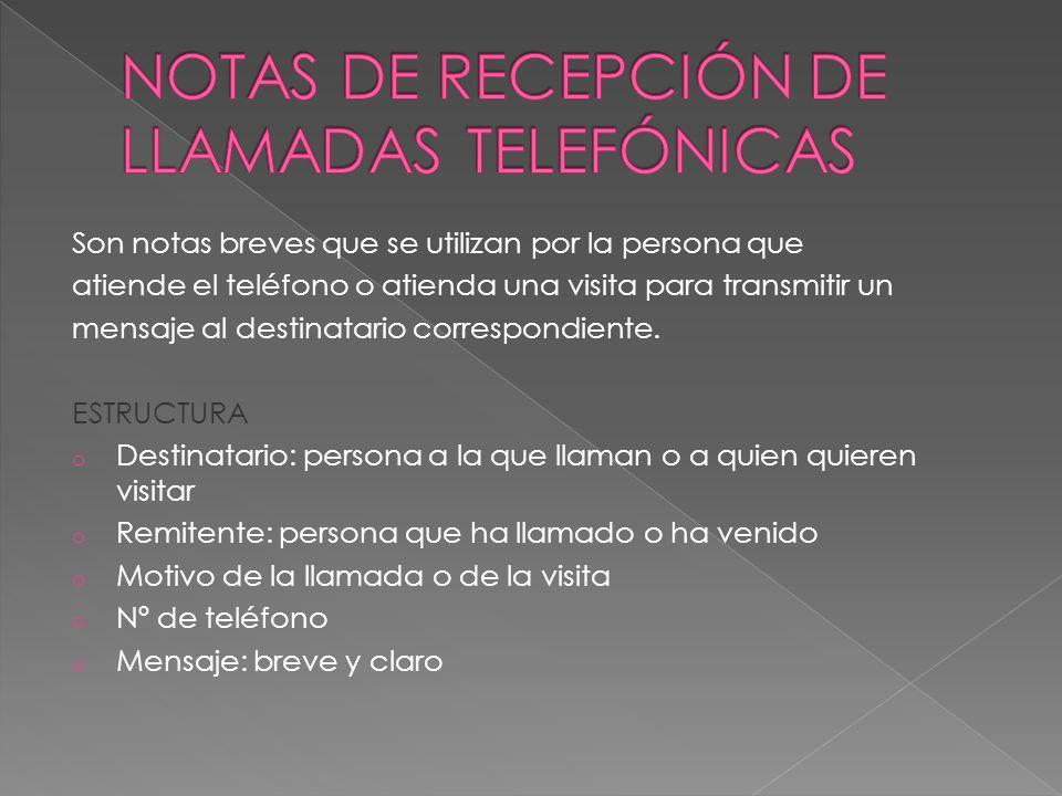 NOTAS DE RECEPCIÓN DE LLAMADAS TELEFÓNICAS